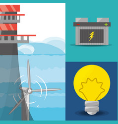 Landscape related with tidal energy batery and vector