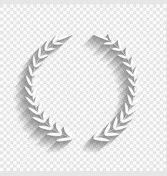 Laurel wreath sign white icon with soft vector