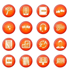 Learning foreign languages icons set vector