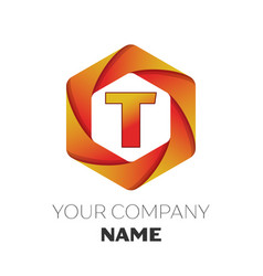 letter t logo symbol on colorful hexagonal vector image