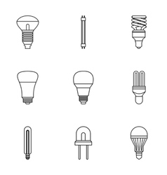 Lighting icons set outline style vector image