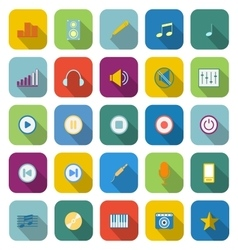 Music color icons with long shadow vector image vector image