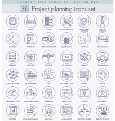 Network technology outline icon set vector image vector image