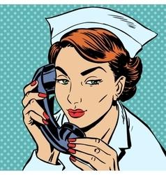 Nurse reception desk talking phone vector