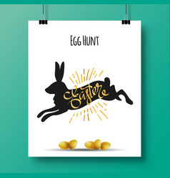 Poster with a handwritten phrase-egg hunt easter vector
