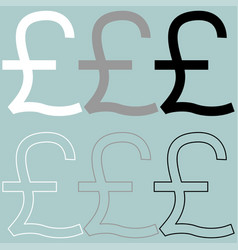 Pound white grey black icon vector