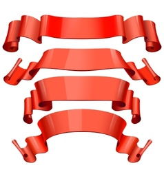 red Glossy ribbons on a white background for your vector image vector image