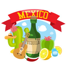 Round composition about mexico vector