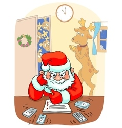 Santa sitting the table and thinking angrily vector