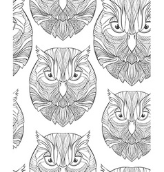 Seamless pattern with sketch owl in boho style vector