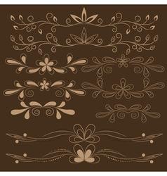 set of brown floral design elements vector image
