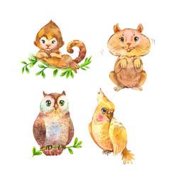 Set of fluffy wild animals cute unusual pets vector