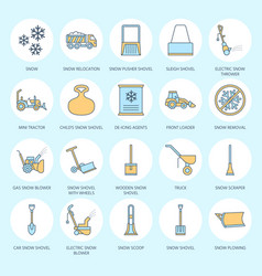 Snow removal colored flat line icons ice vector