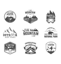 Summer and winter mountain explorer camp badge vector