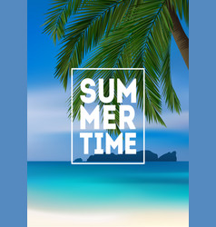 Summer tropical background with palms sea and vector