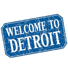 Welcome to detroit blue square grunge stamp vector