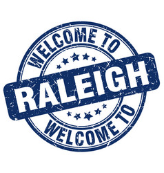 Welcome to raleigh blue round vintage stamp vector