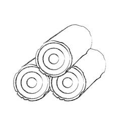 Wooden camping material lumber firewood stump vector