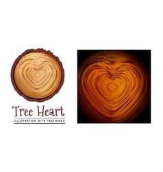 Wooden cross section of the heart shape vector image