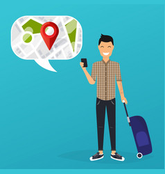 Young man holding mobile smart phone with mobile vector