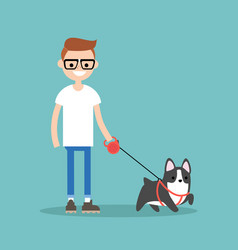 Young smiling nerd walking the dog flat editable vector