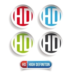 Hd button - high definition set vector