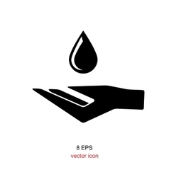 Hand with water drop symbo vector