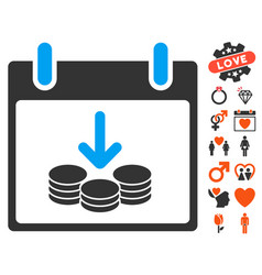 Coins income calendar day icon with valentine vector