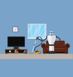 Robot cleaner in home interior vector