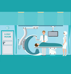 Doctor and patient at operating room with xray vector