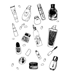 Set of cosmetic doodles vector