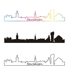 Stockholm skyline linear style with rainbow vector image