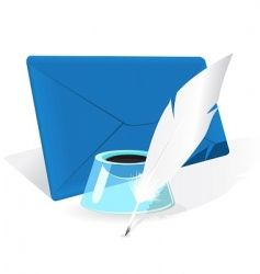 envelope feather quill vector image