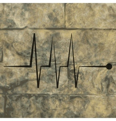 Heart rhythm flat modern web button and space for vector