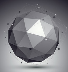 Geometric monochrome spherical structure with wire vector