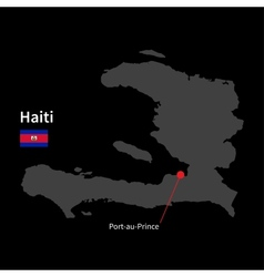 Detailed map of haiti and capital city port-au vector