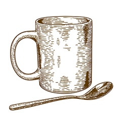 engraving mug and spoon vector image