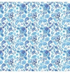 Blue ethnic paisley ornament pattern vector