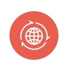 Globe with arrow around thin line icon vector