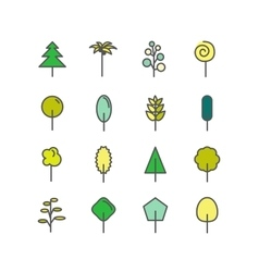 Set of color line icons trees palm tree vector