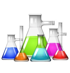 Chemical in different size of beakers vector