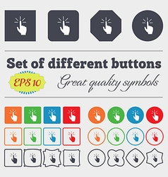Click here hand icon sign big set of colorful vector