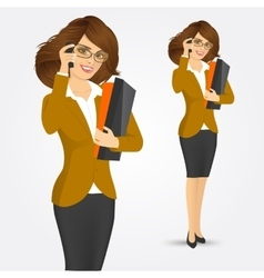 Business woman with folders vector
