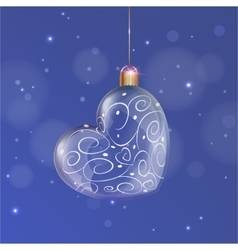 Transparent glass christmas heart ball with white vector