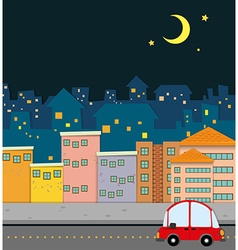 Neighborhood scene at night vector