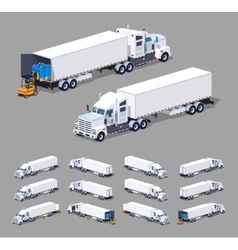 Low poly heavy american white truck with the vector