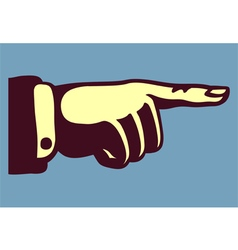 Vintage hand pointing finger retro vector