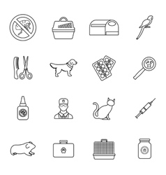 Veterinary icons set thin line style vector