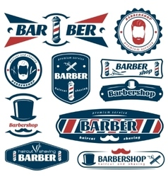 Barber blue red labels vector