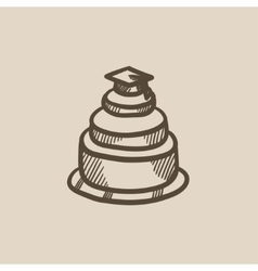 Graduation cap on top of cake sketch icon vector